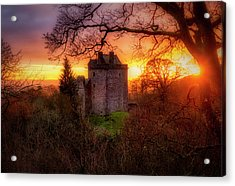 Acrylic Print featuring the photograph Sunset Over Castle Campbell In Scotland by Jeremy Lavender Photography