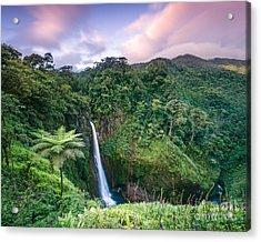 Sunset Over Catarata Del Toro Waterfall - Costa Rica Acrylic Print by Matteo Colombo