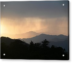 Sunset Over Chakrata Hills - 2 Acrylic Print by Padamvir Singh