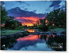 Sunset Over Deer Lake In Forest Park, St Louis, Missouri Acrylic Print by Garry McMichael
