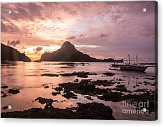 Sunset Over El Nido Bay In Palawan In The Philippines Acrylic Print