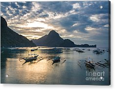 Sunset Over El Nido Bay In Palawan, Philippines Acrylic Print