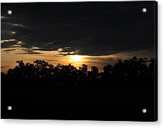 Sunset Over Farm And Trees - Silhouette View  Acrylic Print