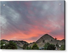 Sunset Over Farmland In Central Oregon Acrylic Print by David Gn