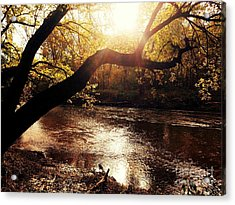 Sunset Over Flat Rock River - Southern Indiana Acrylic Print by Scott D Van Osdol