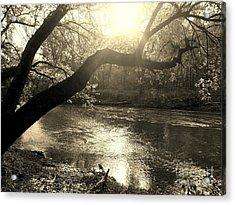 Sunset Over Flat Rock River - Southern Indiana - Sepia Acrylic Print by Scott D Van Osdol