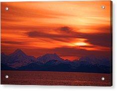 Sunset Over Glacier Bay Acrylic Print
