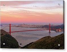 Sunset Over Golden Gate Bridge And San Francisco Skyline Acrylic Print