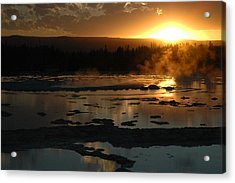 Sunset Over Great Fountain Geyser In Yellowstone National Park Acrylic Print