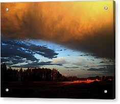Sunset Over Hayfield Acrylic Print by Shirley Sirois