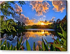 Sunset Over Hidden Lake In Jupiter Florida Acrylic Print
