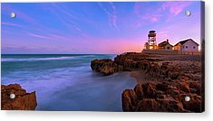Sunset Over House Of Refuge Beach On Hutchinson Island Florida Acrylic Print