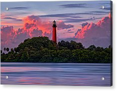 Sunset Over Jupiter Lighthouse, Florida Acrylic Print