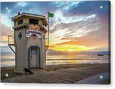 Acrylic Print featuring the photograph Sunset Over Laguna Beach Lifeguard Station by Cliff Wassmann