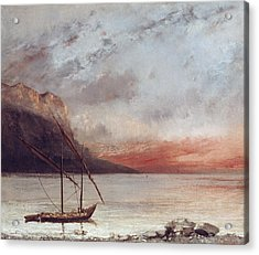 Sunset Over Lake Leman Acrylic Print by Gustave Courbet