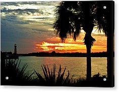 Sunset Over Lake Sumter Landing Acrylic Print by Betty Eich