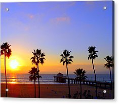 Sunset Over Manhattan Beach Acrylic Print