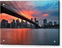 Sunset Over Manhattan Acrylic Print by Larry Marshall