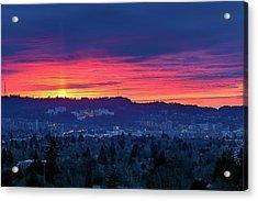 Sunset Over Marquam Hill Acrylic Print