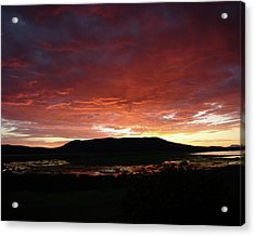 Acrylic Print featuring the painting Sunset Over Mormon Lake by Dennis Ciscel