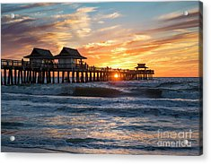 Acrylic Print featuring the photograph Sunset Over Naples Pier by Brian Jannsen