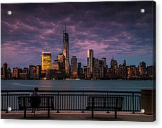 Acrylic Print featuring the photograph Sunset Over New World Trade Center New York City by Ranjay Mitra