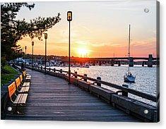 Sunset Over Newburyport Ma Merrimack River Newburyport Turnpike Acrylic Print