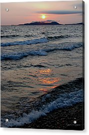 Sunset Over Pic Island Acrylic Print by Laura Wergin Comeau