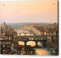 Sunset Over Ponte Vecchio In Florence Acrylic Print