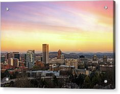 Sunset Over Portland Cityscape And Mt Hood Acrylic Print