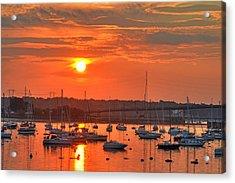 Sunset Over Salem Harbor Salem Beverly Bridge 2 Acrylic Print