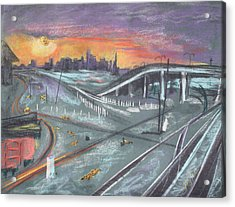 Sunset Over San Francisco And Oakland Train Tracks Acrylic Print by Asha Carolyn Young