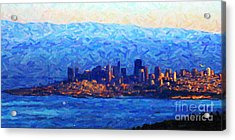 Sunset Over San Francisco Bay Acrylic Print by Wingsdomain Art and Photography