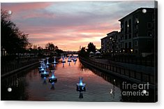 Sunset Over Spiraling Droplets In Arizona Canal By Heather J Kirk  Acrylic Print
