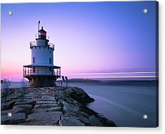 Sunset Over Spring Breakwater Lighthouse In South Maine Acrylic Print