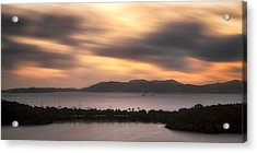 Sunset Over St. John And St. Thomas Panoramic Acrylic Print by Adam Romanowicz