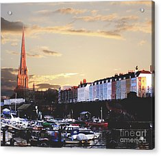 Acrylic Print featuring the photograph Sunset Over St Mary Redcliffe Bristol by Terri Waters