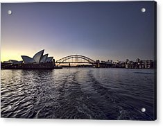 Sunset Over Sydney Harbor Bridge And Sydney Opera House Acrylic Print