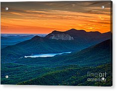 Sunset Over Table Rock From Caesars Head State Park South Carolina Acrylic Print by T Lowry Wilson