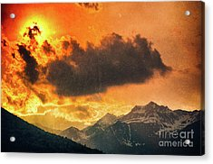 Sunset Over The Alps Acrylic Print