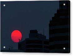 Sunset Over The City Of Portland Oregon Acrylic Print