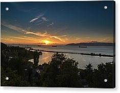 Sunset Over The Columbia River Acrylic Print by Joe Hudspeth