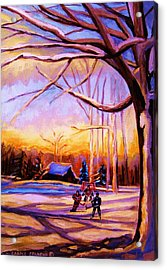 Sunset Over The Hockey Game Acrylic Print by Carole Spandau