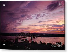 Sunset Over The I40 Bridge In Memphis Tennessee  Acrylic Print by T Lowry Wilson