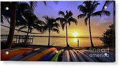 Sunset Over The Kayaks Acrylic Print