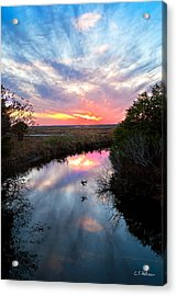 Sunset Over The Marsh Acrylic Print by Christopher Holmes