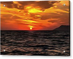 Sunset Over The Mediterranean Sea Acrylic Print by Tracey Harrington-Simpson