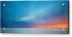 Sunset Over The Ocean Acrylic Print by Edward Fielding