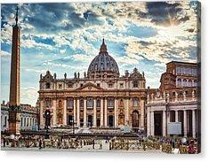 Sunset Over The Papal Basilica Of Saint Peter Acrylic Print