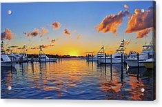 Sunset Over The Sailfish Marina In Riviera Beach Florida Acrylic Print